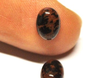 Natural Mahogany Obsidian Oval Cabochons - Match Pair - 8.0 x 6.0 x 3.4 mm - 2.5 ct - 141205-52