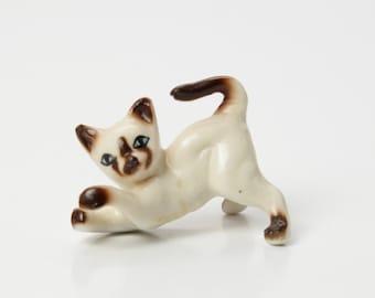 Mini Siamese Cat Figurine - Vintage Bone China - 1960s