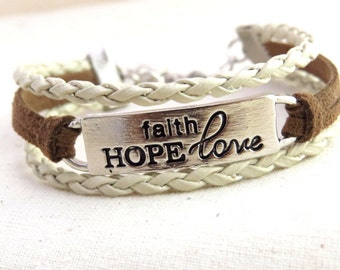 Faith, Hope  & Love Cord Bracelet