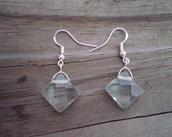 Faceted Aqua Glass French Hook Earrings
