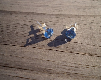 Blue Cubic Zirconia Stud Earrings 6mm