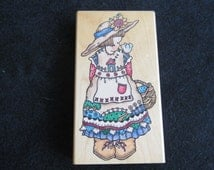 Country Garden Girl Rubber Stamp-Large Penny Black Rubber Stamp-Friendly Chat-Collectible Rubber Stamp