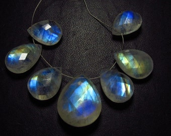 AAAAA - High Quality So Amazing - Rainbow Moonstone - Faceted Pear Briolettes Full Blue Flashy Fire Huge Size 11x15 - 17x21 mm - 7 pcs