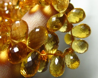 226/ctw - AAAAA -  Flawless Amazing High Quality Golden Dark - Natural Citrine - Sparkle Faceted Tear Drops Briolettes size - 8 - 13 mm Long