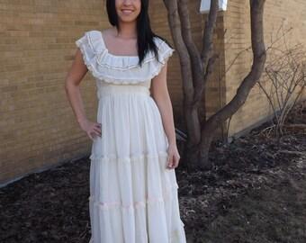 Gunne Sax Dress 70s Vintage Ivory Lace XS 7 9 Romantic Full Length