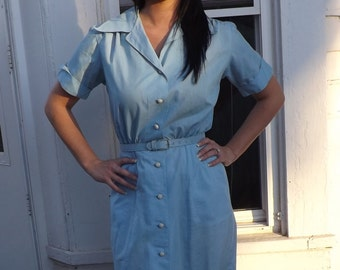 Vintage 50s Blue Day Dress Casual Cotton S XS