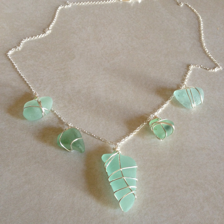 wedding sea glass necklace