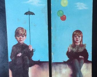 Pair of vintage 60s clown kids wall art