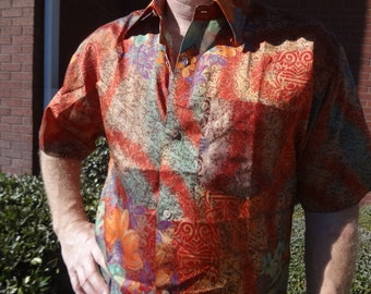 Men's Handmade Woven Sari Silk Button Down Pocket Shirt - Size Small - Rust Muted Floral - Lachlan G745