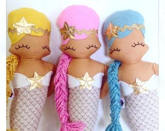 Maddy Mermaid Cloth Rag Doll - MADE TO ORDER