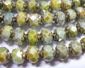 25 5x6mm Czech Glass Green Picasso Luster Rosebud beads
