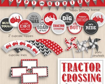 TRACTOR CROSSING Birthday Printable Package in Red and Charcoal Gray- Editable Instant Download