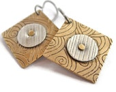 Square Etched Round Riveted Mixed Metal Earrings