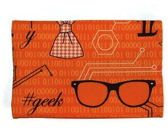 Father's Day,Orange Kleenex Holder, Travel Tissue Cozy, Pocket Tissue Holder, Purse Tissue Holder, Geek, Glasses, Scientist, Pi, Bow tie