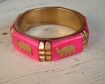 Lucky elephant hot pink brass Metal bangle bracelet vintage boho, bohemian