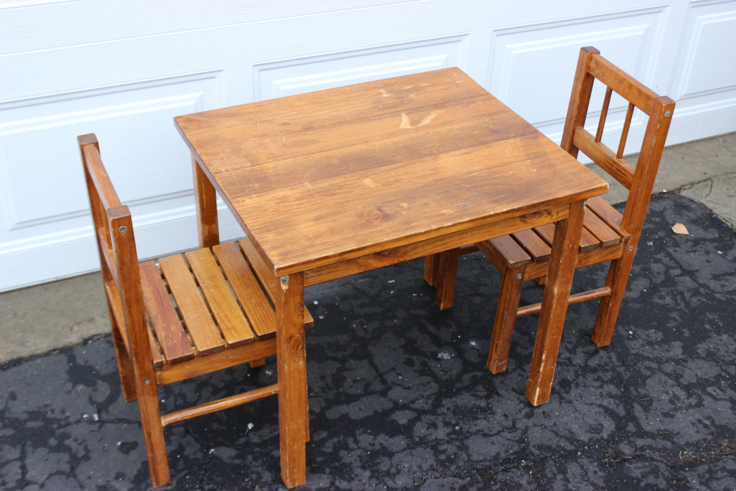 vintage wooden small childrens table and chairs