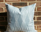 Decorative Pillow: 18 X 18 Designer Accent Throw Pillow Cover in a Pewter Blue Geometric Design...Home & Living...Home Decor