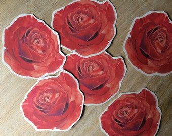 Red Rose Flower Prints - Place cards, wishing tree, wedding decoration, bridal shower, escort cards, guest book