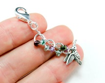 Hummingbird Charm. Beaded Hummingbird Keychain Charm. Custom Keychain Charm.BRC004