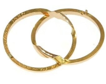 Unisex Wedding Band Size US 10 antique rose gold double rings circa 1886