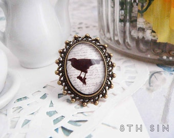 Antique Bronze Raven Cameo Ring, Antique Bronze Raven Ring, Bronze Raven Ring, Ivory Raven Ring, Edgar Allan Poe Ring, Black Raven Ring