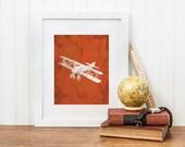 14 x 17 - Vintage Airplane Nursery Print - Airplane Nursery Wall Art - Big Boy Room, Boy Nursery Art, Airplane Art