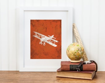 Vintage Airplane Nursery Print - Airplane Nursery Wall Art - Digital Download - Big Boy Room, Boy Nursery Art, Airplane Art