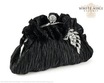 Black Satin Clutch, Black Bridal Clutch, Bridesmaids Clutch, Rhinestone Bridal Clutch, Black Evening Bag, Crystal Leaf Brooch