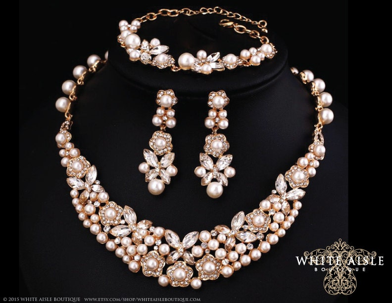 Gold Pearl Wedding Jewelry Set Bridal Statement Necklace