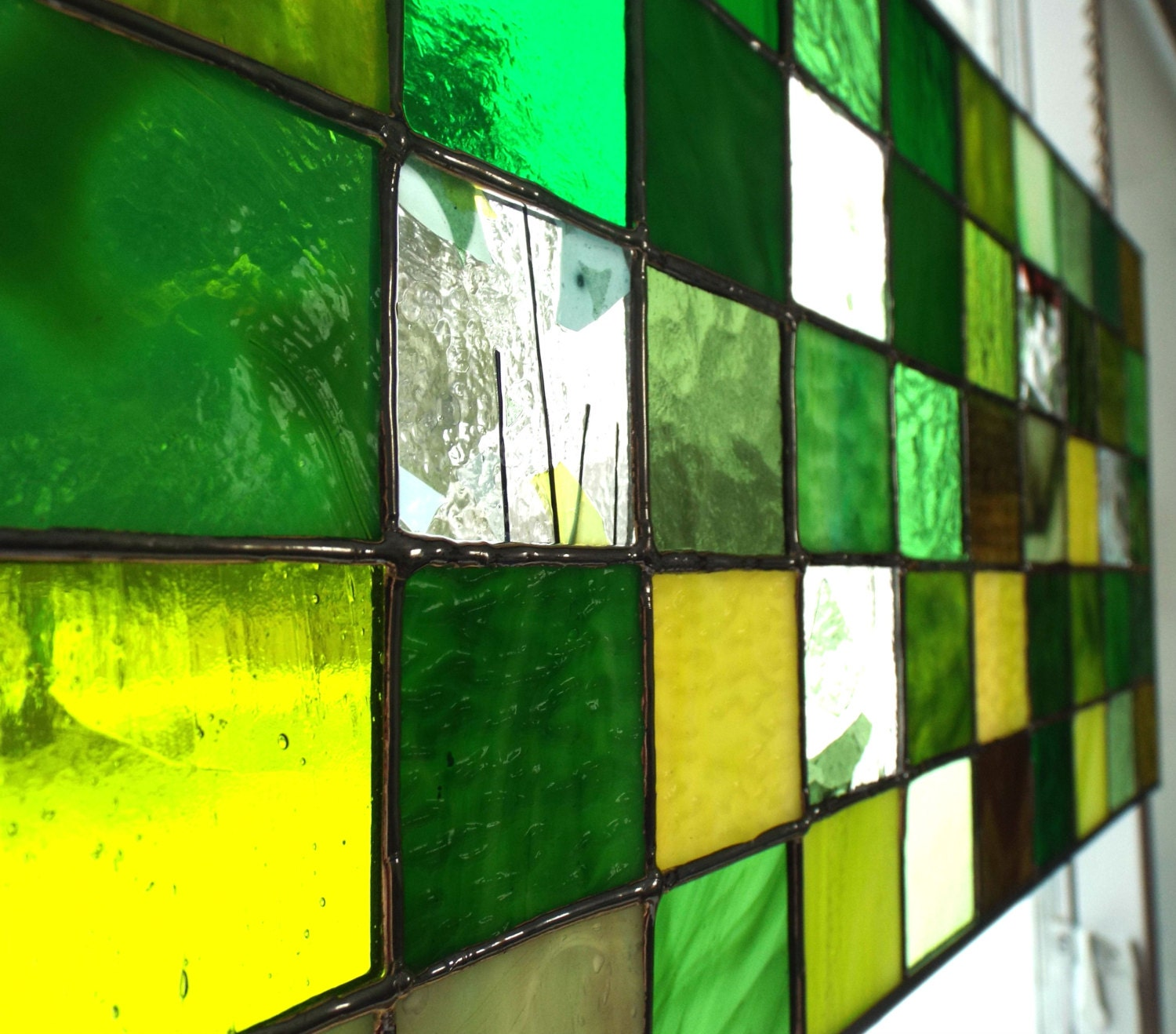 Green stained glass panel textured art glass window decor for Textured glass panels