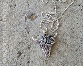 Cow's Skull with Rose (Georgia O'Keeffe inspired) Fine Silver Pendant with Sterling Silver Chain