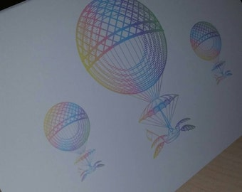 Vintage Hot Air Balloon Note Cards