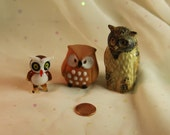 Small Owls in Ceramic Pottery Glass Woodland Horned Owls Nature Lover 3 owls