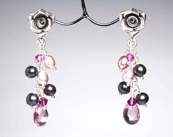 Silver Rose Earrings with a Pink Topaz, Grey & Pink Pearls and Swarovski Crystal Cascade, Romantic Look, Anniversary jewelry, Mother's day