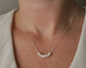 Tiny Pearls Necklace - handmade tiny beaded little freshwater pearls on sterling silver or gold filled chain - simple wedding jewelry
