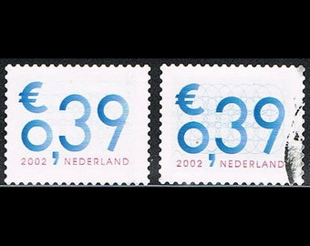 140 Dutch Postage Stamps Blue Geometry Circles - The Netherlands