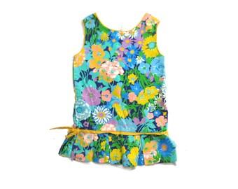vintage dress girls 60s mod scooter childrens retro floral print 1960s summer size 8