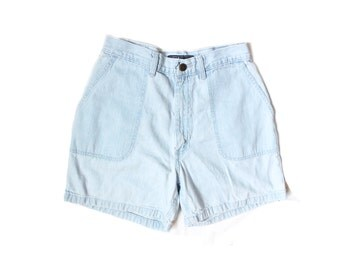 vintage jean shorts 1980s womens clothing light wash high waisted summer distressed wrangler size medium m