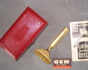 Your Face Will Love You Great Gold Tone Gem Junior Razor With Box