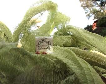 Moss Green Silk Chiffon Ribbon