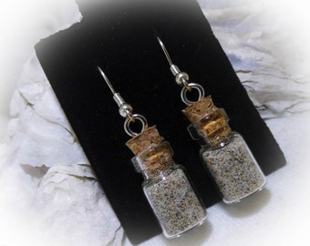 Pacific Ocean Sand in a Bottle Silver Dangle Earrings