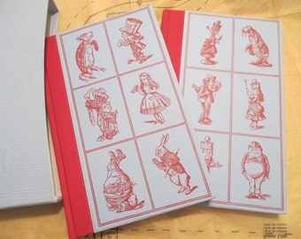 vintage 2 Book Set - Alice in WONDERLAND, Through the LOOKING GLASS - London