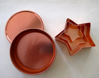 collection of 3 star COOKIE CUTTERS - copper