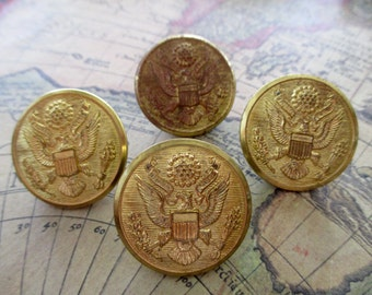 4 brass Waterbury Scovill Mfg Co  - gold buttons, military, eagle, vintage