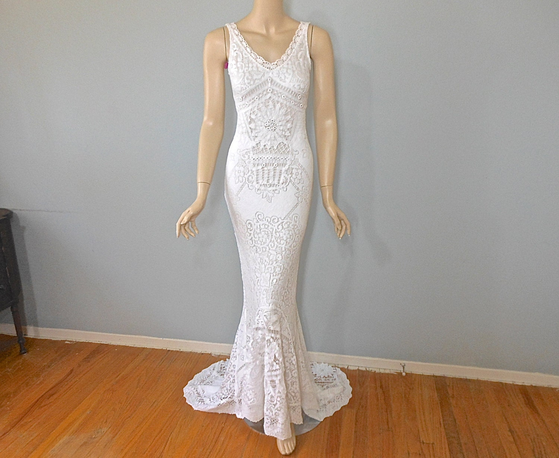 Mermaid lace wedding gown bohemian wedding dress vintage for Bohemian mermaid wedding dress