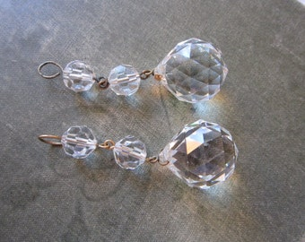 2 vintage chandelier crystals - salvaged prisms, dangle prism ball