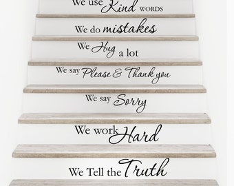 Vinyl wall decal In our home - staircase, stairway, stairs decor D82