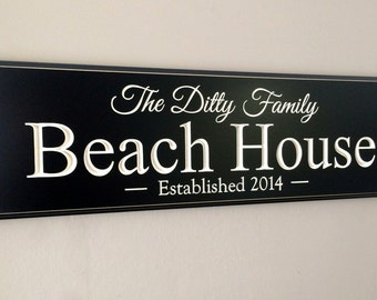 Personalized Beach House Sign Carved Lake House or Beach House, Family Name Sign,