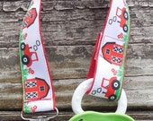 Pacifier Clip, Tractors and Barn Farm Ribbon, Red Pacifier Holder, Farm Binky Clip, Pacifier Clip or Toy Clip