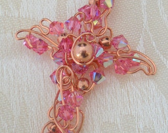 Rose Crystal / Copper wire Cross Necklace CCN200